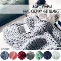 Warm Handmade Chunky Knit Blanket Thick Line Yarn Knitted Throw Home Bed Decor