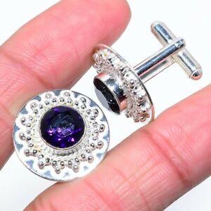 Fabulous Purple Amethyst Gemstone 925 Sterling Silver Jewelry Cufflinks Sz 0.99