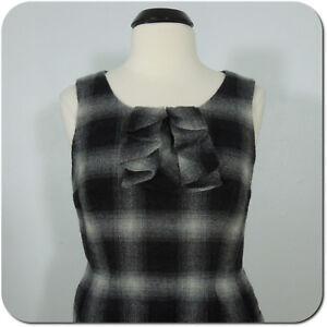 ANN TAYLOR LOFT Women's Plaid Dress, Wool Blend, Sleeveless, Neck Ruffle size 8