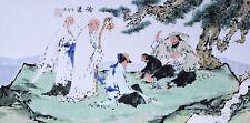 ORIGINAL ASIAN FINE ART CHINESE FAMOUS FIGURE PAINTING-Gaoshi&Monkey