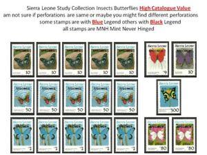 Plants Flowers Insects Butterflies MNH Sierra Leone Black Blue Legend Study Lot