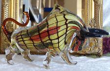 XXL Stier Skulptur Glas Figur Bulle Glasfigur Deko Kristallglas Bison Murano