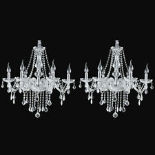 2 Pack Elegant K9 Crystal Candle Chandelier Pendant Ceiling Light 6 Lamp E12