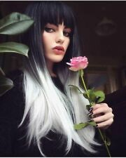 Synthetic Straight Wigs Ombre Silver White With Bangs Wig Women Cosplay Full Wig