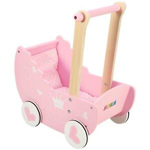 SOKA Wooden Push Along Pink Princess Doll Pram for Boys and Girls