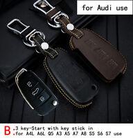 Genuine Leather CAR KEY CASE For AUDI A4L A6L Q5 A3 A5 A7 A8 S5 S6 S7