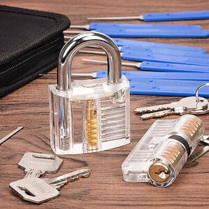 17pcs Kit attrezzi lucchetto trasparente pratica chiave di sblocco estrattore
