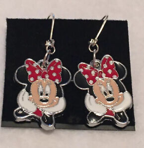 Minnie Mouse Leverback Earrings Red