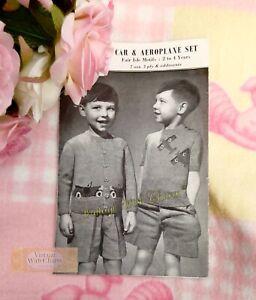 Vintage 40s Childs Jumper & Cardigan Knitting Pattern Twin Set Car Planes