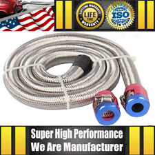 "Universal 3/8"" Hose 3ft. Stainless Steel Flex Braided Fuel Line Kit W/Two Clamps"