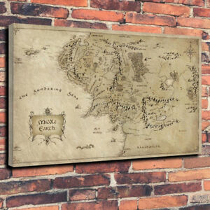 Lord Of The Rings Middle Earth Map Printed Canvas Picture Multiple Sizes