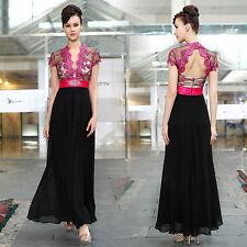 Full Length Chiffon V Neck Short Sleeve Dresses for Women