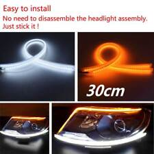 2pc 30cm Car DRL Daytime Running Lamp Strip Light Sequential Flowing Turn Signal