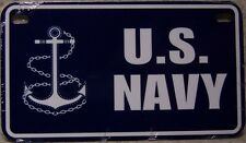 Aluminum Motorcycle License Plate Military Navy NEW Wheelchair or Golf Cart