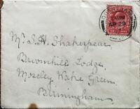 England, Grantham Postmark Envelope Posted April 1907 One Penny Edward VII Stamp