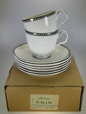 Noritake Cellini Platinum Tea Cups & Saucers Set of 6 NEW WITH TAGS