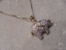 STERLING SILVER GOLD VERMEIL  CZ ELEPHANT PENDANT NECKLACE  18IN
