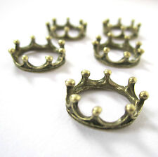 10 antiqued bronze crown charms- 6x18mm -jewellery making tiara game of thrones