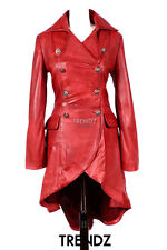 Ladies Leather Flare Coat ENVY Red Gothic Style Real Leather Trench coat 3492