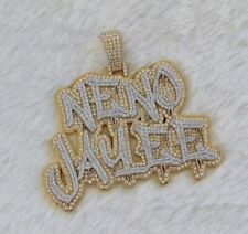 "1.81 ct Round Simulated Diamond Men's Customized ""NENO JAYEE"" Name Pendant"