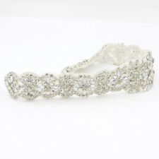 1 Pc Silver Crystal Rhinestone Applique Wedding Dress Belt Craft Sewing/Iron DIY