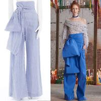 new ROSIE ASSOULIN AW16 blue white pinstripe cotton highwaist sash wide pant US6