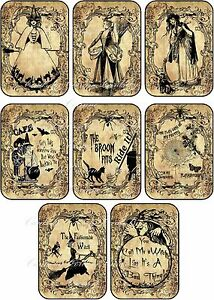 Halloween  8 witches labels tags cards scrapbooking party decoration