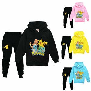 Boys Girls Kids Pokemon Go Pikachu Hoodie Tops + Pants Tracksuit Outfits Set