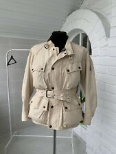 Men's Belstaff Biker Beige Motorcycle Cotton Belted Jacket Sz - L