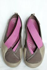 Crocs Cross Strap Slip On Shoes Brown/Plum Womens Size 7 EUC