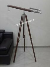 Nautical Designer Brass Telescope Chrome Adjustable With Brown Tripod Stand