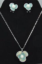 Lavender Enamel Shamrock Pendant Necklace Earring Set use Swarovski Pearls