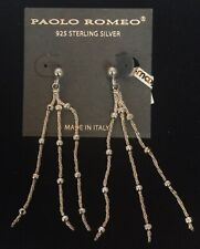 Paola Romeo 925 Sterling Silver Hanging Earrings Made In Italy New