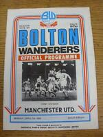 07/04/1980 Bolton Wanderers v Manchester United  (Creased, Fold)