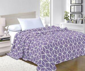 Ultra Super Soft Cube Design Fleece Luxury BLANKET All Sizes - 7 colors
