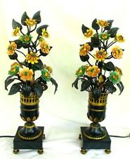 EMPIRE TOLE FLOWER LAMPS * ANTIQUE * SPECTACULAR c.1920'S