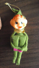 "Odd Vintage Japan Vinyl Cloth Elf Ornament or Hanging Doll 4"" Tall"