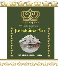 Shah Taj Rice Extra Long Grain Basmati Steam Rice 10LB Bag