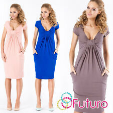 Ladies Bubble Dress Knee Lenght V Neck Short Sleeve Party Tunic Sizes 8-18 FM05