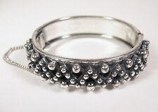 Vintage Bracelet Silver Tone Bubbler Round Zig Zag Safety Chain Jewelry Flowers