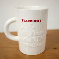 STARBUCKS 2010 Embossed Holiday WISHING White Coffee Mug Cup Red Logo 10 Ounce