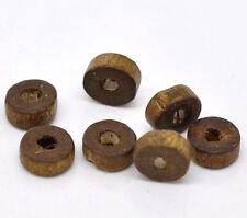 1000 Kaffeebraun Rondelle Ring Holz Spacer Perlen Beads 8mm