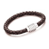 Tribal Steel Gents Brown Leather Bracelet 6mm Bolo Leather with Magnetic Clasp
