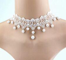 Blanco Perla Encaje Gótico Victoriano Gargantilla Cuello nupcial Bridesmaids de graduación 760