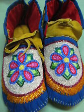 NATIVE AMERICAN FULL BEAD MOCCASINS  11 INCHES LONG DELIGHTFULL FLOWER  ON VAMP