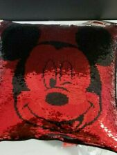 Disney Mickey Mouse reversible sequin pillow 16 in x 16 in w/black back
