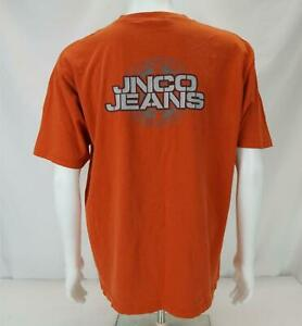 VTG JNCO Jeans Double Spellout T-Shirt Made in USA Orange Men's XL