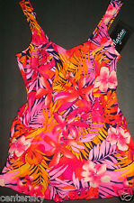 NEW MAXINE OF HOLLYWOOD WOMEN'S 1 PC SWIMDRESS SWIMSUIT NAVY MULTI TROPICAL 14