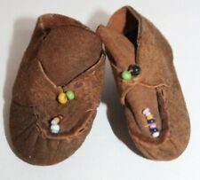 Vintage Brown Suede Indian Moccasins Beaded Doll Shoes
