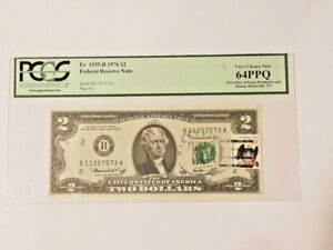 1976 FR 1935-B Two Dollars $ 2 Bill Not in Circulation. First day of PCGS